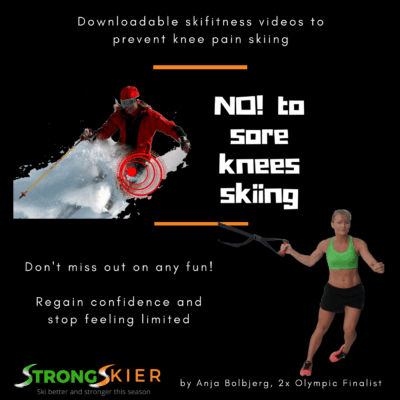 No to sore knees skiing graphics - skiing after ACL